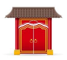 portão chinês para entrar em um templo ou pagode com colunas e uma ilustração vetorial de telhado isolada no fundo vetor