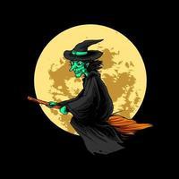 ilustração de bruxa halloween vetor