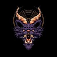 ilustração de cabeça de lobo diabo vetor