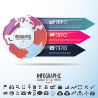 Modelo de design de infográficos do mapa mundo vetor