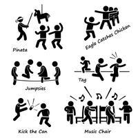 Jogos infantis das crianças da infância que jogam o ícone Clipart do ícone da figura da vara.