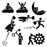 Homem de negócios do negócio que trabalha o conceito bem sucedido de relaxamento feliz figura ícone da vara do pictograma.