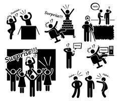 Surpresa e brincadeira Stick Figure pictograma ícones. vetor