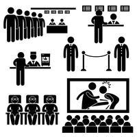 Ícone do pictograma da vara do homem do filme dos espectadores do filme do teatro do cinema. vetor