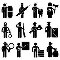 Um conjunto de trabalho de trabalhador de construção e ocupação em pictograma. vetor