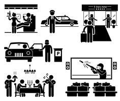 Serviços de luxo de primeira classe negócios VIP Stick figura pictograma ícone. vetor