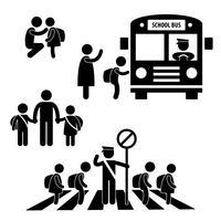 Crianças de aluno aluno de volta ao ônibus escolar atravessando o pictograma de sinal de símbolo de ícone de polícia de trânsito. vetor