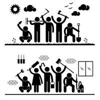 Comunidade esforço humanidade voluntariado grupo limpeza parque ao ar livre interior casa Stick Figure pictograma ícone.