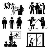 Controlar doenças surto de transmissão de vírus Stick Figure pictograma ícones. vetor