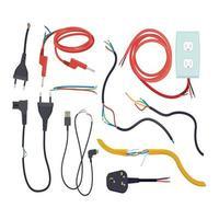 problema elétrico cabo de comunicação danificado com plugue rompido, corte de sinal elétrico vetor
