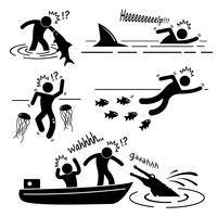 Ataque do animal dos peixes do rio do mar da água que fere a figura humana ícone da vara do pictograma. vetor