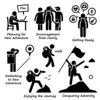 Nova aventura e conquistar a adversidade Stick Figure pictograma ícones.