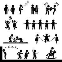 Crianças felizes que jogam o pictograma do sinal do símbolo do ícone. vetor