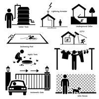 Casa casa estrutura exterior infra-estrutura e dispositivos elétricos Stick Figure pictograma ícone Cliparts. vetor