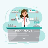 farmácia com enfermeira no balcão vetor