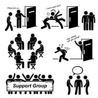 Grupo de apoio reunião Stick Figure pictograma ícones. vetor