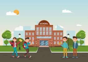 estudantes em diferentes personagens na escola vetor