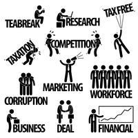 Negócios Finanças Empresário Entrepreneur Employee Worker Team Texto Palavra Stick Figure Pictograma Ícone.