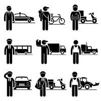 Empregos de entrega de motorista Carreiras de ocupações. vetor