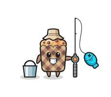 personagem mascote de muffin como pescador vetor