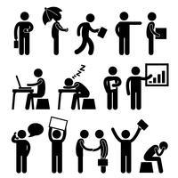 Funcionamento do homem do local de trabalho do escritório da finança do negócio. vetor