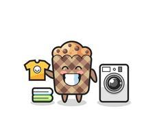 desenho de mascote de muffin com máquina de lavar vetor