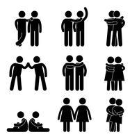 Símbolo heterossexual lésbica alegre do pictograma do conceito do ícone.