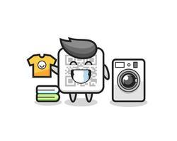 desenho da mascote do código qr com máquina de lavar vetor