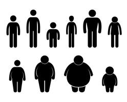 Homem corpo figura tamanho ícone símbolo sinal pictograma.