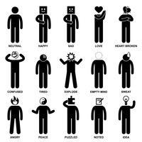 Ícone de pictograma do homem emoção emoção sentimento expressão Stick figura. vetor