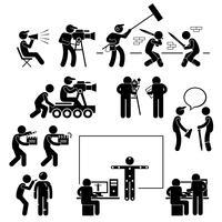 Diretor fazendo filmagem filme produção ator stick figura pictograma ícone.