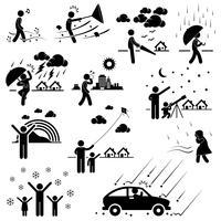 Clima Clima Atmosfera Ambiente Meteorologia Temporada Homem Stick Figure Pictogram Icon. vetor