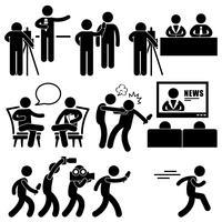 Repórter de notícias âncora mulher Newsroom homem Talk Show anfitrião Stick Figure pictograma ícone.