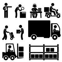 Entrega de armazém logístico envio ícone pictograma.