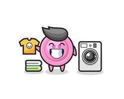 desenho de mascote de botão de roupas com máquina de lavar vetor
