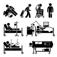 Vida suporte equipamentos Stick Figure pictograma ícones.