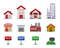 Vetor dos ícones da propriedade dos bens imobiliários.