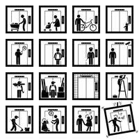 Coisas que as pessoas fazem dentro do elevador Levante Stick Figure Icons pictograma (segunda versão). vetor