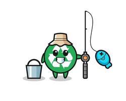 personagem mascote da reciclagem como pescador vetor