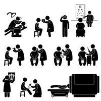 Exame médico do corpo da saúde acima do pictograma do sinal do símbolo do ícone do teste do exame.
