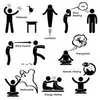 Poder psíquico sexto sentido Stick Figure pictograma ícone. vetor
