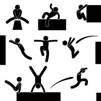 Homem de parkour pulando escalada pulando o pictograma de sinal símbolo ícone acrobata. vetor