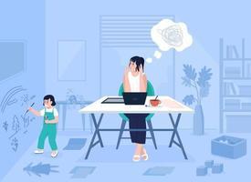 ilustração vetorial de cores planas de mãe trabalhadora vetor