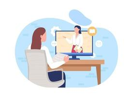 oficina online 2d ilustração vetorial isolada vetor
