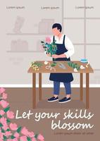 workshop de floricultura modelo de vetor plano