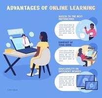 Vantagens do modelo de infográfico de vetor de cores planas de aprendizagem on-line