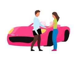 mulher comprando carros novos personagens de vetor de cor semi plana