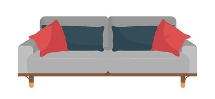 sofá moderno para sala de estar objeto vetorial de cor semi-plana vetor