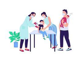 crianças imunização caracteres vetoriais de cor semi-plana vetor