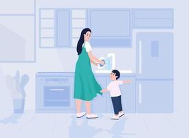 criança distrai a mãe ilustração vetorial de cor lisa vetor